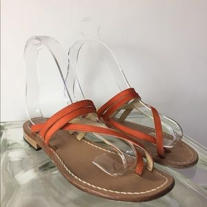 Orange Suede sandals Hand Made In Italy size 6